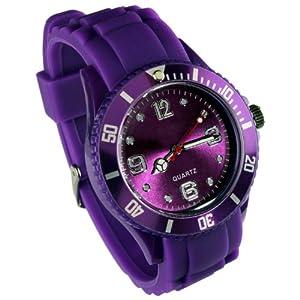 Montres couleurs tendances - MIXTES - 24 COLORIS ET PLUSIEURS TAILLES - Pochette cadeau LovaLuna offerte - Par LovaLunaTM - Modèle Enfant - Violet Taille XS (cadran 3,2 cm)
