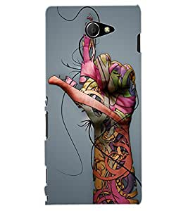 ColourCraft Hand Image Design Back Case Cover for SONY XPERIA M2 DUAL D2302