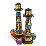 Classic Egyptian Collectible Luxor Ritual Sculptural Candleholder - Set of 2