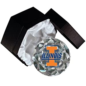 NCAA Fighting Illini Logo 4-Inch High Brillance Diamond Cut Crystal Paperweight by Sports Collector