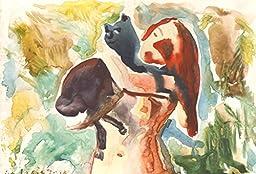 1 0 x 7, Cat & girl, watercolor original by Andrejs Bovtovics. FREE shipment.
