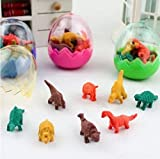 Set of 16 (in 2 eggs) Small Novelty Collectable 3D Dinosaur: T-Rex Japanese Style Erasers Rubbers (not Iwako) - by Fat-Catz-Copy-Catz