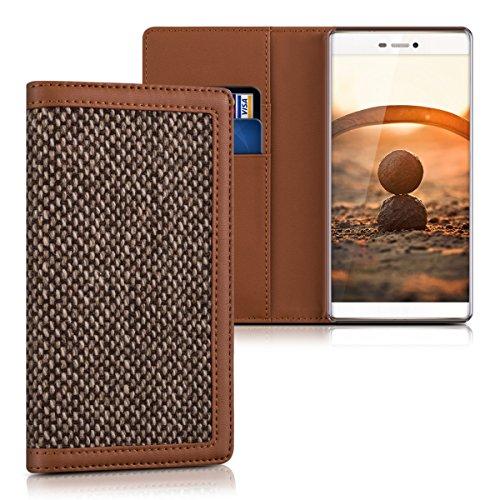 kalibri-Wallet-Case-Hlle-Donna-fr-Huawei-P8-Cover-Flip-Tweed-Kunstleder-Tasche-mit-Kartenfach-in-Braun