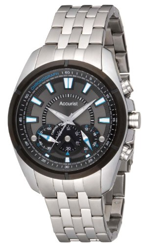 Accurist Men's Quartz Watch with Black Dial Chronograph Display and Silver Stainless Steel Bracelet MB825BN