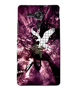 Fuson Magenta Eagle Snake Back Case Cover for SONY XPERIA SP - D3713