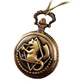 Infinite U Retro Vintage Style Unicorn/Horned Dragon Pendant Quartz Pocket Watch Necklace with Long Chain for Women/Man/Girl/Boy/Female/Male/Lady -2 Colour Options (Bronze)