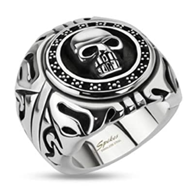Men's Wide Stainless Steel Round Shield Skull Tribal Biker Ring - Sizes 9-15