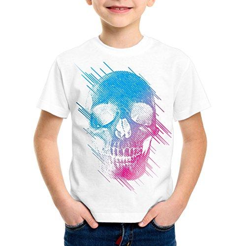 style3 Neon Skull T-shirt per bambini e ragazzi testa di morto disco neon festival, Colore:bianco;Dimensione:164