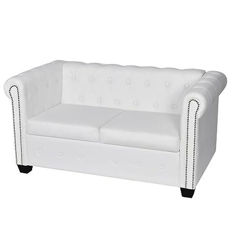 vidaXL Canapé Chesterfield de 2 places Blanc Canapé de salon Mobilier de salon Sofa