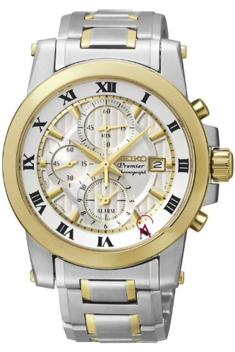 Seiko Premier Chronograph White Dial Stainless Steel Mens Watch Snaf32
