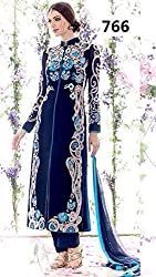 Blue Georgette Dress Material by Bansi Fashion