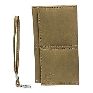 Jo Jo A5 Nillofer Leather Wallet Universal Pouch Cover Case For Samsung Galaxy J7 (2016) Beige