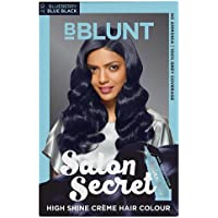 BBLUNT Salon Secret High Shine Creme Hair Colour, Blue Black 2.10, 100g With Shine Tonic, 8ml