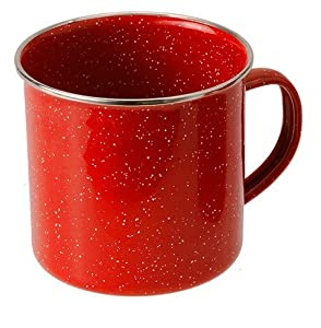 GSI Outdoors 24 Ounce Red Graniteware Stainless Steel Rimmed Cup
