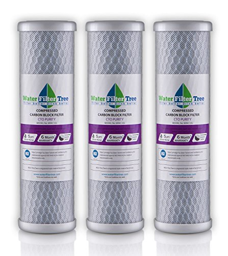 Universal 10 inch Carbon Block filter cartridge for Whole House Filter - 5 micron (NSF 42 Certified) (3) (Water Filter Cartridge 5 Micron compare prices)
