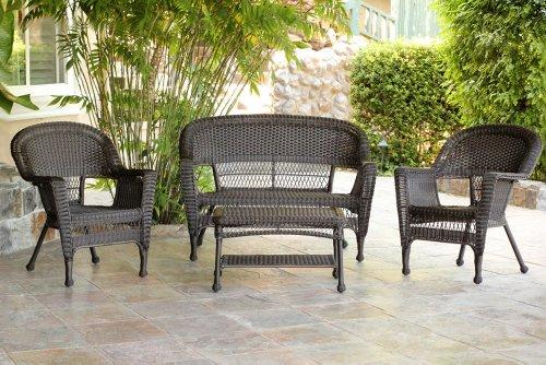 4pc Outdoor Espresso Wicker Patio Furniture Set