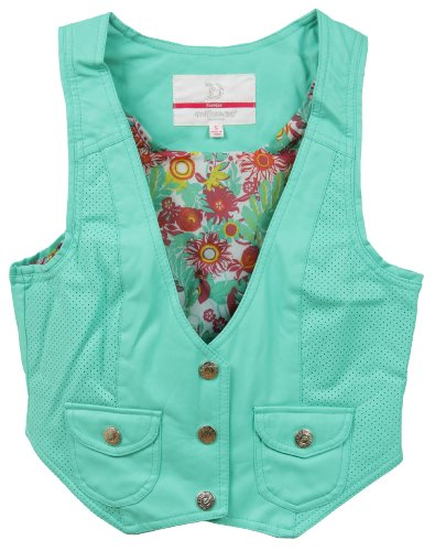 Dollhouse Juniors PU Imitation Leather Vest with Floral Lining - Sea Foam (Medium)