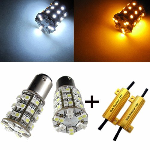 Orion Technology Dual Color White And Amber 1157 1034 2357 60-Smd Switchback Led Bulbs For Car Turn Signal,Parking Lights + Load Resistors