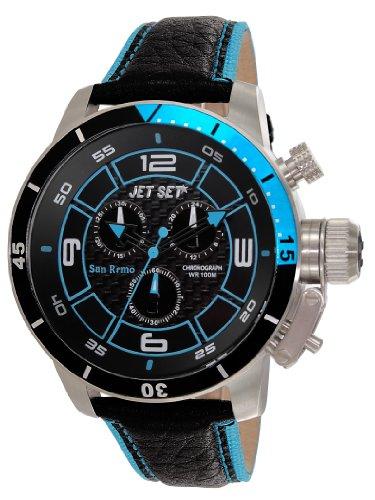 Jet Set - J91101-233 - San Remo - Montre Homme - Quartz Chronographe - Cadran Noir - Bracelet Cuir Noir