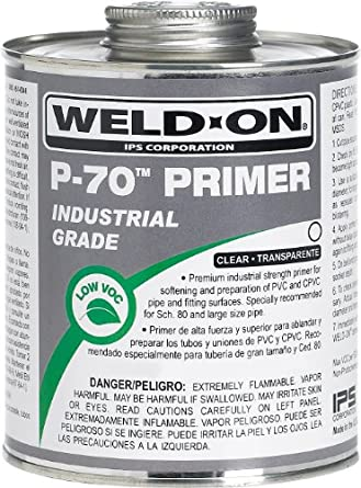 Weld-On 10228 P-70 Clear PVC/CPVC Primer, Low-VOC, 1/4 pint Can with