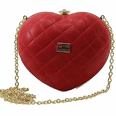 Love Moschino Women's Red Quilted Heart Kiss Lock Crossbody Handbag from Love Moschino
