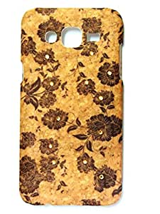 Samsung Galaxy A7Back Cover Wooden Texture 3D print Traditional Print High Quality Floral Wood Print With Golden Diamonds by DRaX®