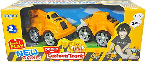 Silli Me: Cartoon Truck - Assembly Block Construction Trucks - Backhoe and Bulldozer - 1