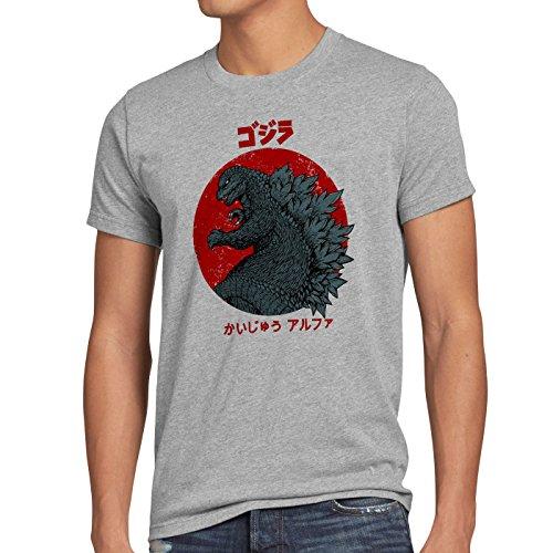 style3 Gojira T-shirt da uomo godzilla giappone nippon kaiju kanji tokio, Dimensione:XL;Colore:grigio melange