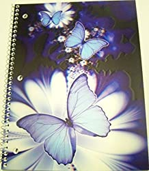iDimension Poly Lenticular Cover Notebook Blue Butterflies on White Flowers (70 Sheets, 140 Pages;