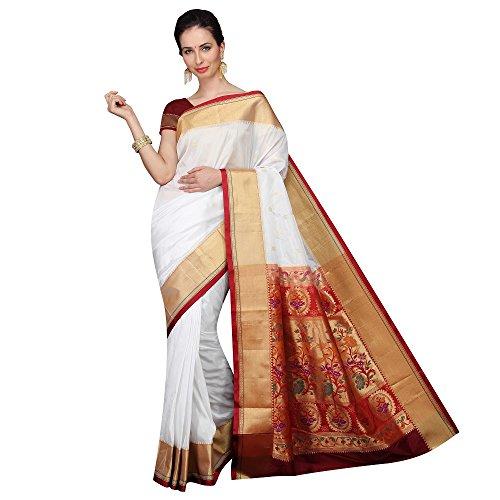 Mahila Silks WHITE Traditional Paithani Sarees