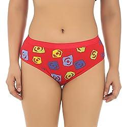 Gujarish Red Cotton Printed Panties