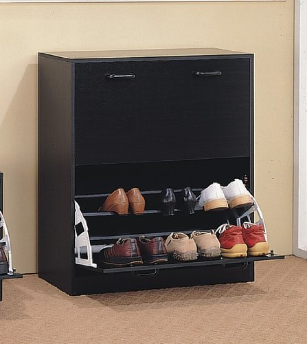 Cappuccino Finish Wood Shoe Storage Rack Organizer