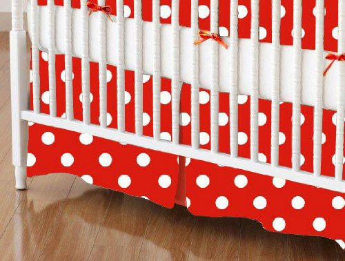 SheetWorld - Crib Skirt - Primary Polka Dots Red Woven - Made In USA