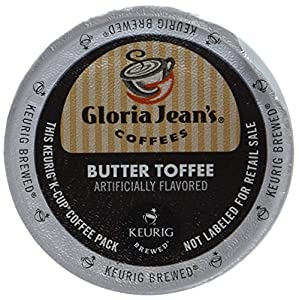 Gloria Jean's Coffee, Butter Toffee, K-Cup Portion Pack for Keurig Brewers