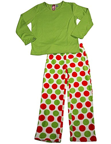 Up Past 8 By Sara'S Prints - Little Girls'S Long Sleeve Pajamas, Lime, Red 35362-3 front-64155