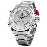 SHARK Men's LED Date Day White Dial Sport Military Stainless Steel Quartz Wrist Watch SH104