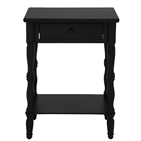 "Urban Designs Laurie 31"" Wooden Nightstand with Drawer - Black"