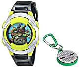 Nickelodeon Kids' TUR032T Teenage Mutant Ninja Turtles Digital Display Quartz Black Watch with Keychain Gift Set