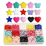 Shapes KAMsnaps 150 Sets Butterfly Star Heart Flower Size 20 (1/2 inch) Plastic KAM Snaps Button Fasteners Storage Container (Color: 150 Round/Shapes W/ Organizer, Tamaño: Size 20 Snaps (1/2
