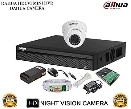 Dahua DH-HCVR4104HS-S2 4CH Dvr, 1(DH-HAC-HDW1000RP) Dome Cameras (With Accessories, 1TB HDD)