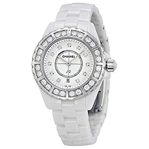 Chanel J12 Diamond Bezel White Ceramic Ladies Watch H2429