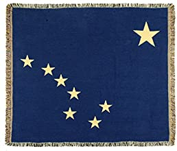 Blue State Flag of Alaska Woven Tapestry Afghan Throw Blanket 60quot x 50quot