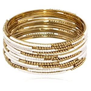 Nico New York Gold-Plated and White Bangle Bracelet Set