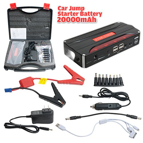 uxcell 600A Peak Current Portable Car Jump Starter with 20000mAh 4USB Power Bank Emergency Car Battery Booster Pack Vehicle Jump Starter Charger SOS Flashlight (Plug Power Pack compare prices)