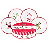 Santa's Servers Gift-boxed Set of 4 Porcelain Christmas Theme Snack Plates