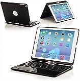 ForeFront Cases® Neue Apple iPad Mini & iPad Mini Retina Wireless Bluetooth Tastaturhülle- Vollständiges QWERTZ-Layout, 360 Grad drehbar und eingebauter, wiederaufladbarer Akku