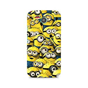 Motivatebox- Minion Cluster Premium Printed Case For Moto E -Matte Polycarbonate 3D Hard case Mobile Cell Phone Protective BACK CASE COVER. Hard Shockproof Scratch-