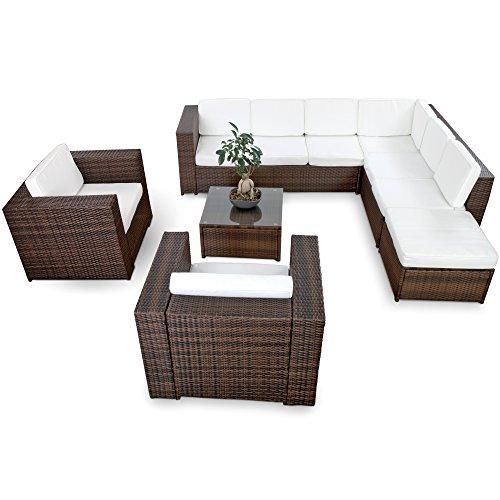 XINRO-XXXL-25tlg-Polyrattan-Gartenmbel-Lounge-Mbel-gnstig-2x-1er-Lounge-Sessel-Gartenmbel-Lounge-Set-Rattan-Sitzgruppe-Garnitur-InOutdoor-mit-Kissen-handgeflochten-braun
