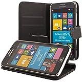 ECENCE Samsung Ativ S i8750 handy tasche case Brieftasche Wallet klapp schutz h�lle cover inklusive Displayschutzfolie Book-Style mit Standfunktion Standfuss schwarz 31010405