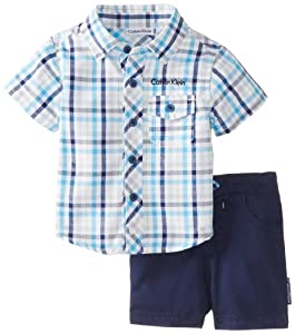 Calvin Klein Baby-Boys born Plaided Shirt with Short by Calvin Klein